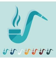 Flat design tobacco pipe vector image vector image