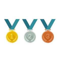 medals from gold silver and bronze vector image