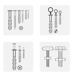 monochrome icon set with dowel nails nuts vector image