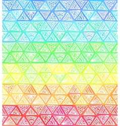 Ornate hand-drawn rainbow triangles vector image