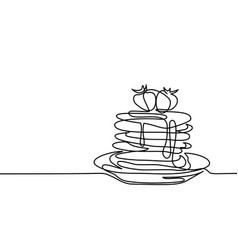 pancakes with strawberry jam on the plate vector image