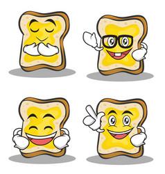 set of bread character cartoon vector image vector image
