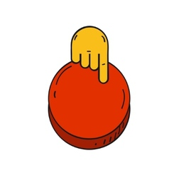 cartoon style hand push a red button vector image
