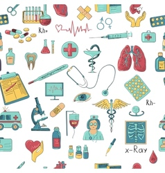 Colored hand draw medicine pattern vector image