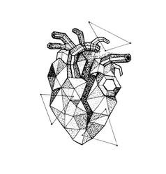 dotwork polygonal broken heart vector image vector image