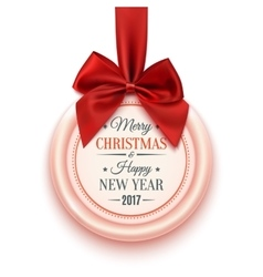 Merry Christmas and Happy New Year 2017 badge vector image vector image