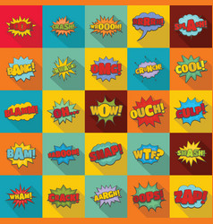 comic sound icons set flat style vector image