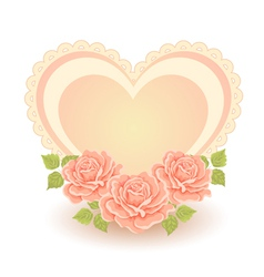 Heart shape with roses vector image