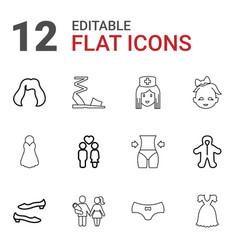 12 girl icons vector