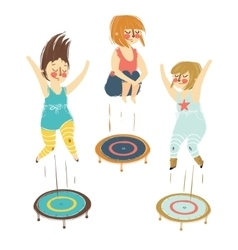 A girls playing trampoline vector