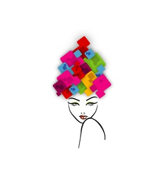 Abstract Hairstyle with Colorful Boxes vector image