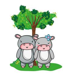 Adorable hippopotamus couple animal and tree vector
