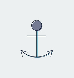 anchor flat line icongraphic design vector image