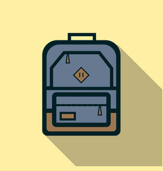 Backpack icon flat vector