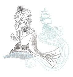 Beautiful mermaid - doodle vector image