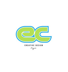 Blue green alphabet letter ec e c logo icon design vector