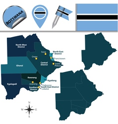 Botswana map with named divisions vector image