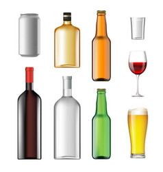bottles with alcoholic drinks isolated on white vector image