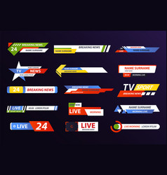 breaking or live news logo or live tv streaming vector image