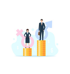 Businessman and businesswoman on coin stack vector