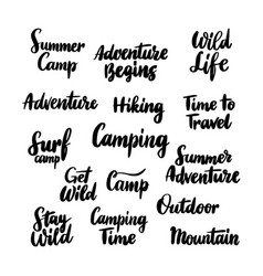 Camping hand drawn lettering vector
