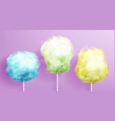 candy cotton on stick set on pink background vector image