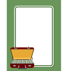 card for greetings suitcase full of money vector image vector image