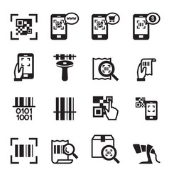 check code barcode qr code reader icons set vector image