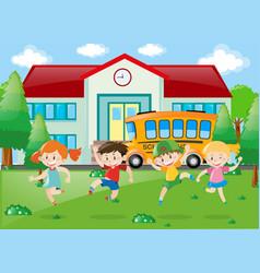 Children having fun at school vector