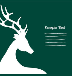 Christmas card standing reindeer cropped on green vector