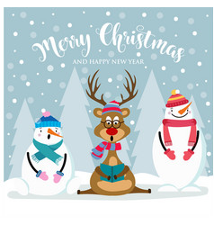 christmas card with cute snowman reinder and vector image