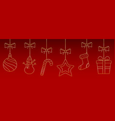 christmas ornaments hanging on red background vector image