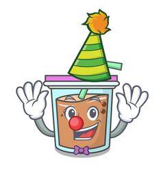Clown bubble tea mascot cartoon vector