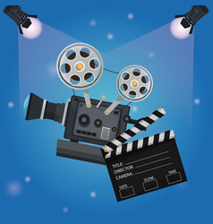 Color background spotlights with clapperboard and vector