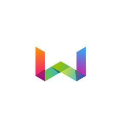 color letter w logo icon design vector image