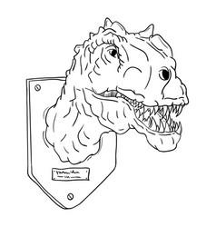 Contour head dinosaur vector