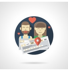 Couple travel color detailed icon vector
