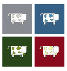cow isolated on background in cartoon flat design vector image