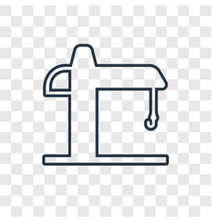 Crane concept linear icon isolated on transparent vector