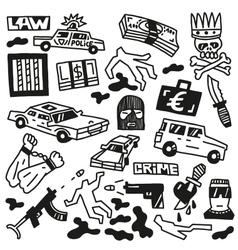 Crime - doodles vector