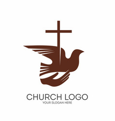 cross and dove in hand vector image