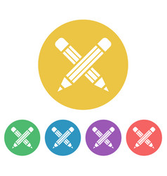 crossed pencils set colored round icons vector image
