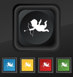 Cupid icon symbol Set of five colorful stylish vector image