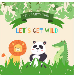 Cute animals lion panda and crocodile for kids vector