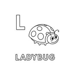 Cute cartoon animals alphabet ladybug vector