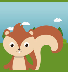 Cute chipmunk in field landscape character vector