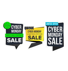 cyber monday sale banner collection online vector image