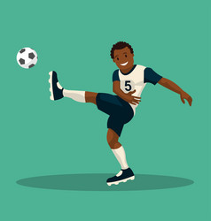 dark-skinned soccer player scores a goal vector image