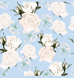 delicate pattern white roses flowers and herbs vector image