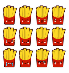 emoji emoticon french fries with a lot of vector image